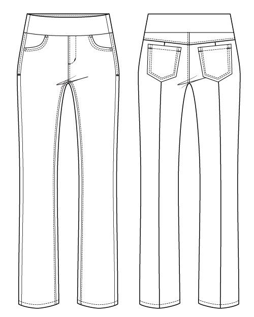 Itch-to-Stitch-Mountain-View-Pull-on-Jeans-PDF-Sewing-Pattern-Line-Drawing